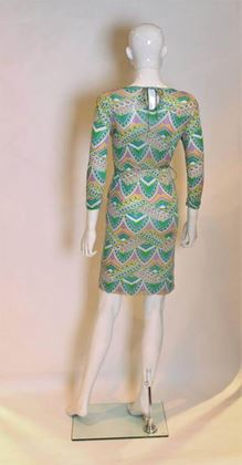 Vintage 1960s / 1970s Geometric Print Silk Jersey Multicolour Vintage Midi Dress