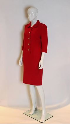 Stuart Parvin 1980s / 1990s Wool Crepe Button Front Red Vintage Midi Dress