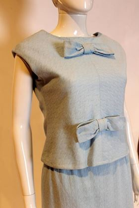 Yves Saint Laurent for Fortnum & Mason 1970s Bow Front Pale Blue Vintage Dress