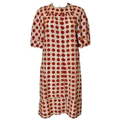 Jean Muir 1970s Silk Polka Dot Brown Vintage Midi Dress