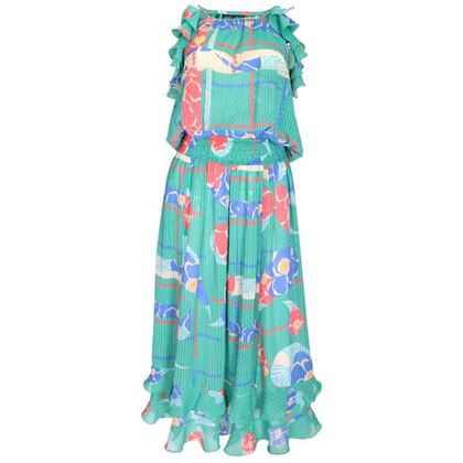 Diane Freis 1980s Ruffled Floral Print Sea Green Vintage Midi Dress