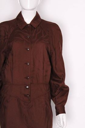 Lanvin 1970s Damask Brown Vintage Mini Dress