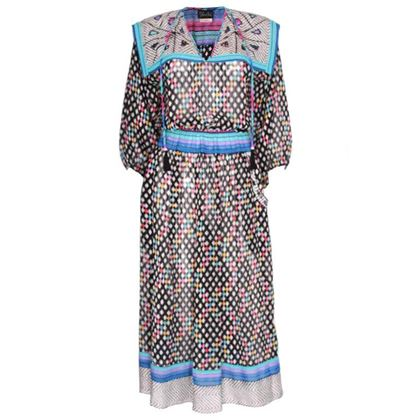 Diane Freis 1980s Geometric Print Multicolour Vintage Midi Dress