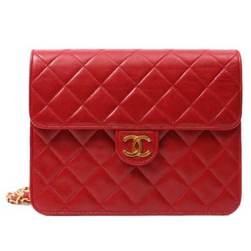 Chanel Quilted Leather Chain Strap Red Vintage Handbag