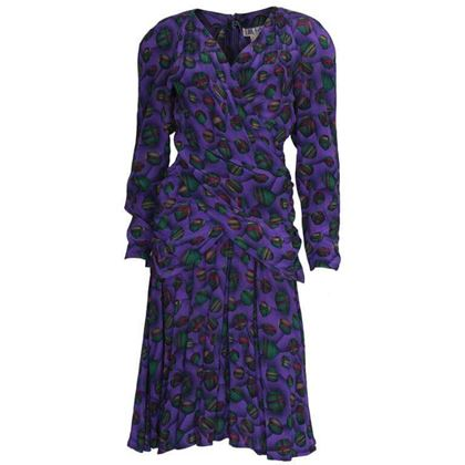 Lanvin 1980s Silk Ball Print Purple Vintage Midi Dress