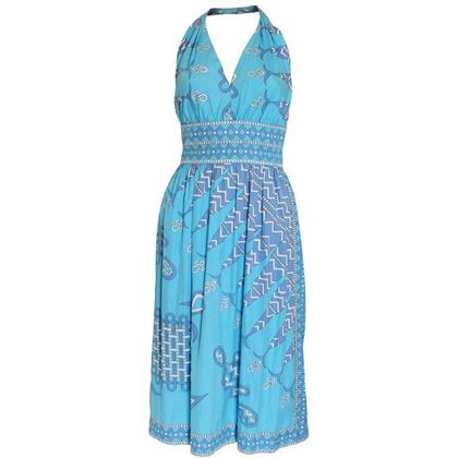 Emilio Pucci Cotton Halterneck Blue Vintage Midi Dress