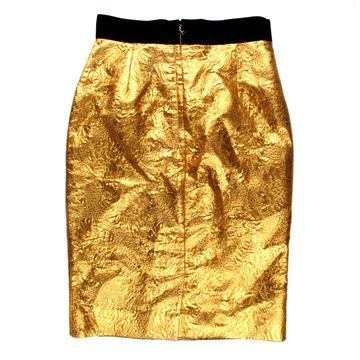 Dolce & Gabbana Metallic Gold Lame Vintage Pencil Skirt