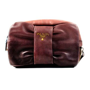 Prada Bow Ombre Gradient Leather Pink Vintage Clutch Bag