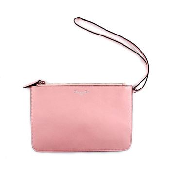 Christian Dior Leather Zip Top Pink Vintage Clutch Pouch Bag