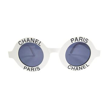 Chanel Most Wanted Round Paris Logo White Vintage Sunglasses