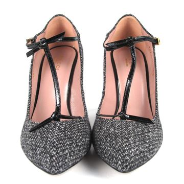 Gucci Beverly Black Patent and Tweed Grey Vintage High Heel Shoes