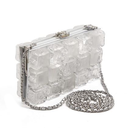 Chanel Ice Cube Clutch Shoulder Bag Silver