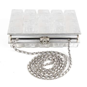 Chanel Ice Cube Clear and Silver Tone Vintage Clutch Bag