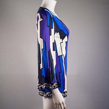 Pucci Geometric Print V Neck Blue and Purple Vintage Top
