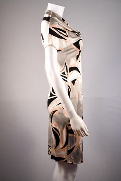 Pucci Asymmetric Neckline Silk Pucci Print Black and Nude Vintage Dress