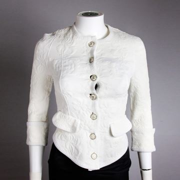 Chanel 2013 Embossed CC Silver Floral white vintage jacket
