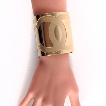 Chanel Wide Logo and Mirror Gold Tone Vintage Cuff Bracelet