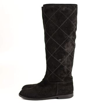 Chanel Quilted Suede Black Vintage Equestrian Boots