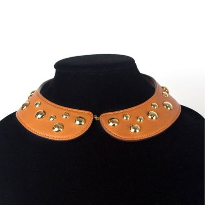 Louis Vuitton Gold Tone Studded Leather Lock Me Tan Vintage Collar Necklace