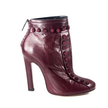 Alaia 2016 Button Detail Maroon Red Vintage Heeled Ankle Boots