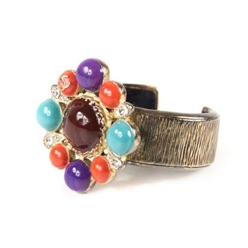 Chanel Pearl Crystal Blue Red & Purple vintage Cuff Bracelet