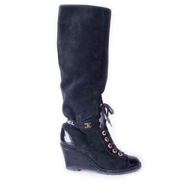 Chanel 2016 Lace Up Suede Black Vintage Wedge Boots