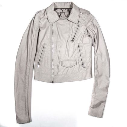 Rick Owens Leather Jacket Light Gray Us 4 Women'S Stooges Lightweight Leather Jacket  New