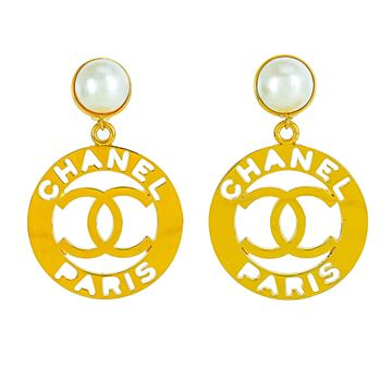 Chanel Pearl Cut Out Logo Gold Tone Metal Vintage Clip Earrings