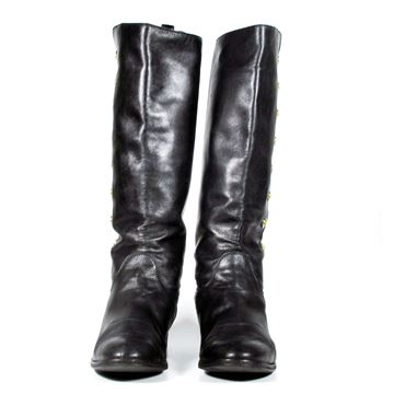 Chanel Leather Button Detail Black Vintage Equestrian Boots