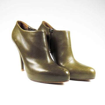 Christian Dior Leather High Heel Green Vintage Ankle Boots Heels