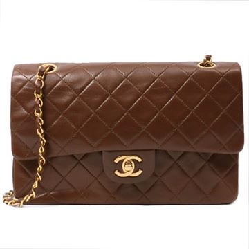 Chanel Chain Strap Quilted Leather Brown Vintage Handbag