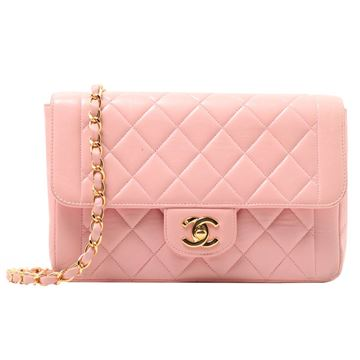 Chanel 23cm Double Chain Quilted Leather Baby Pink Vintage Handbag