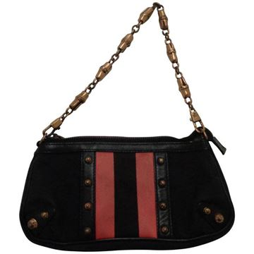 Gucci Canvas GG fucsia bamboo chain black vintage Shoulder Bag