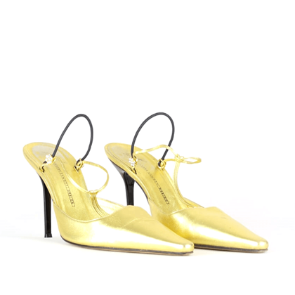 Giuseppe Zanotti golden leather vintage slingback high heel shoes