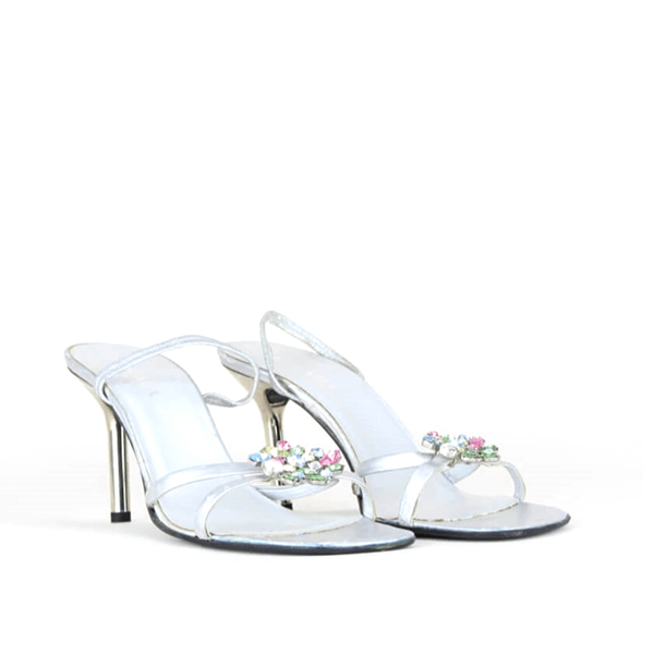 Escada 1980s rhinestone embellished silver leather vintage sandals