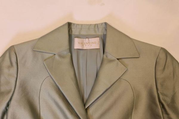 Valentino 1980s Cotton & Silk Single Button Pale Green Vintage Jacket