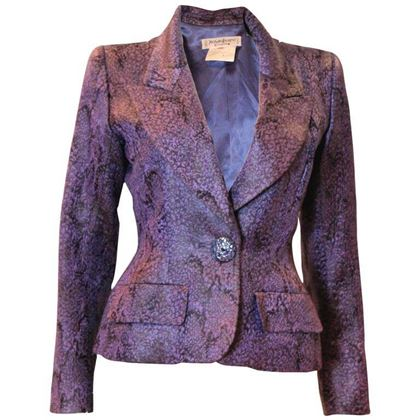 Yves Saint Laurent Rive Gauche 1970s Single Button Black and Purple Vintage Jacket