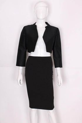 Worth 1960s Three Quarter Length Sleeve Black Vintage Bolero Jacket