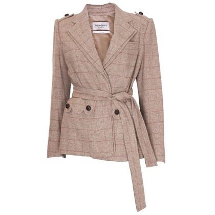 Yves Saint Laurent Silk and Linen Tweed Checked Brown Vintage Jacket