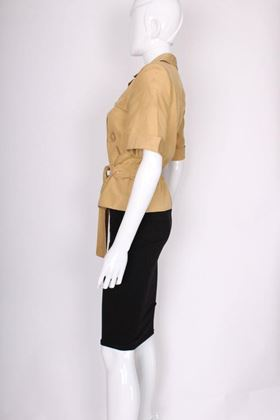Loewe 1990s Raw Silk Short Sleeve Safari Style Beige Vintage Jacket
