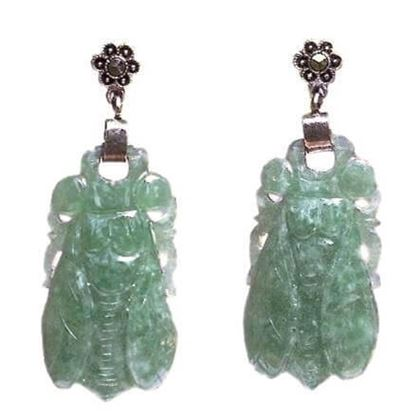 Vintage 1930s Silver Marcasite & Carved Jade Cicada green Drop Earrings