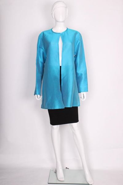 Jean Muir 1990s Silk and Cotton Turquoise Blue Vintage Jacket