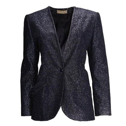 Christian Dior 1970s Ribbed Metallic Sparkle Midnight Blue Vintage Jacket