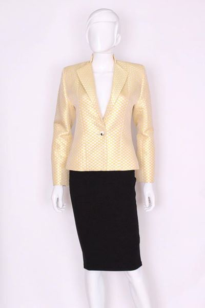 Yves Saint Laurent 1990s Woven Check Silver and Primrose Yellow Vintage Jacket