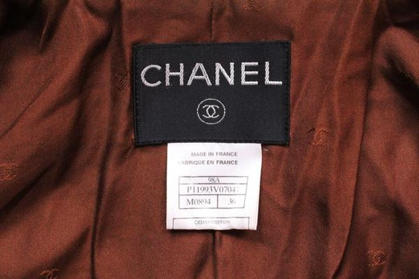 Chanel 1990s Woven Wool Brown Vintage Jacket