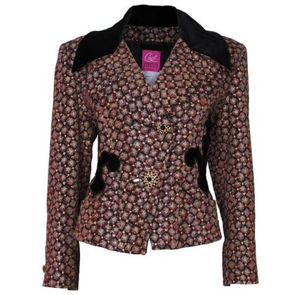 Christian Lacroix 1990s Couture Velvet Applique Brown Vintage Jacket