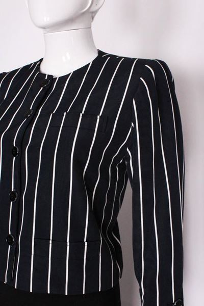 Yves Saint Laurent Cropped White Striped Dark Blue Vintage Jacket