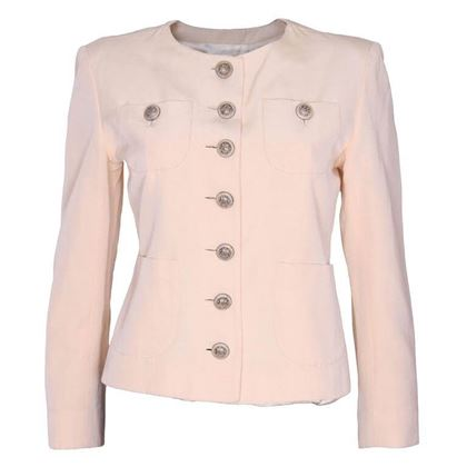 Yves Saint Laurent Encore 1990s Grosgrain Cream Vintage Jacket