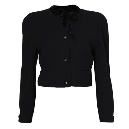 Valentino 1980s Cropped Velvet Bow Collar Black Vintage Jacket