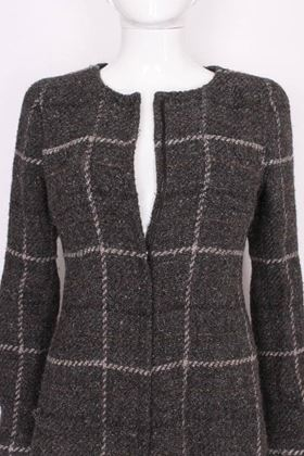 Chanel Zip Front Tweed Checked Grey Vintage Jacket
